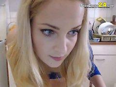 blond webcam teen girl in kitchen