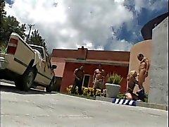 Blond Slut Sex With Three Yard Workers