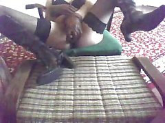 Amateur Transsexual In Stockings Abusing Himself