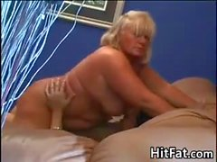 Big Blonde Mature Woman Rubs Cock