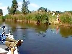 Couple gets caught fucking doggystyle by the riverside