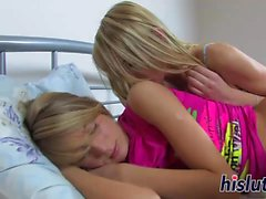 Two lusty blondes pleasure their wet twats