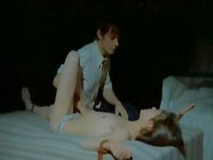Brunette gal Jane Birkin in a classic BDSM episode bound to the bed and titillated