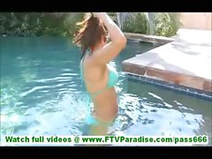Zoey hot brunette with amazing body swimming in bikinis and flashing ass