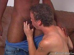 Hung black thug fucks a curly white boy