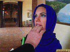 Arab gal got a job sucking a big cock with big balls