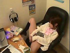 Insatiable Oriental secretary drives herself to pleasure in