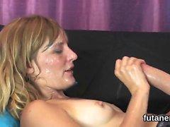Slutty chicks shag the biggest strap dildos and spray cum al