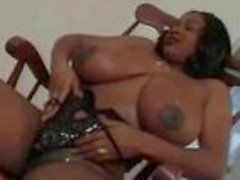 Busty Ebony MILF Titty Fucks Her Amigo