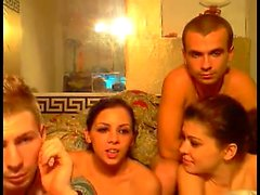 French group sex orgy with a brunette and a blonde