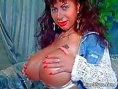 Gorgeous mega boobed mature slut uses part1