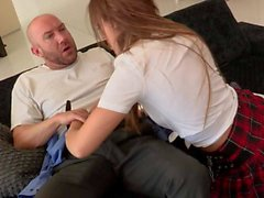 Glassed schoolgirl Callie Calypso gets throat fucked