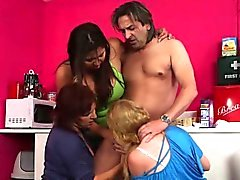 Sales guys gets sucked off by slutty housewives