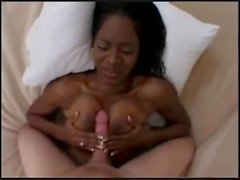 Black amateur Melissa enjoys long white cock
