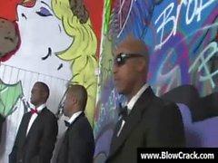 Interraciale blowbang - Ejaculation visage dans le hardcore interraciales foutre 07