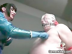 Two hot horny sexy body latex MILF babes