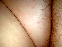hairy pussy & asshole of my wife laying on her belly