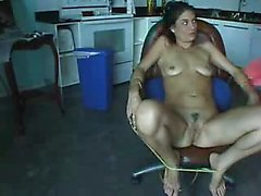 Filling his GF having a large dildo
