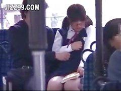Schoolgirl seduced to suck geek on bus