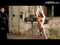 Slave Girl Bondaged With Tape Getting Her Pussy Tortured With Big Weights Whipped Breast Bondage By Master
