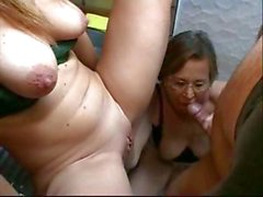 Blonde and brunette take turns sucking and fucking in kitchen