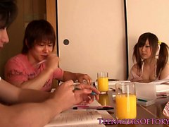Pigtailed stockinged Jap trio babe creamed