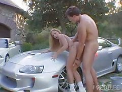 Hot blonde MILF washes his car then sucks his cock and gets fucked