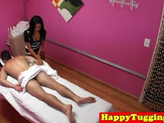 Beautiful oriental masseuse fucked by client