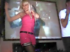 Blonde dances - and strips - at club bar!