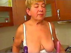 Granny Toys Fingers Sucks and Fucks