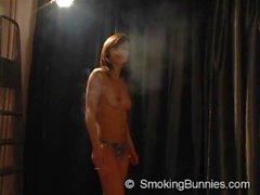Topless Smoking Fetish Girl
