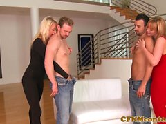 CFNM dominas ass banged during glam foursome