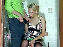 Sexy pale blonde teen in dress gets rammed doggy style