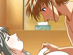 Anime brunette gets hot jizz on her face
