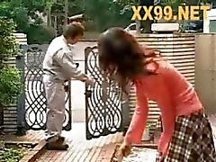 Beautifil Japanese slutty MILF gets fucked by her hubby and then by a delivery guy