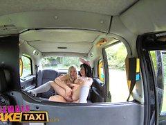 Female Fake Taxi Cute Asian has Lesbian bonnet sex