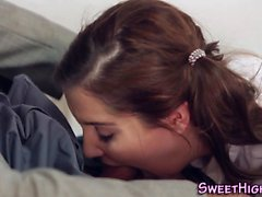 Pigtails teenager blowing