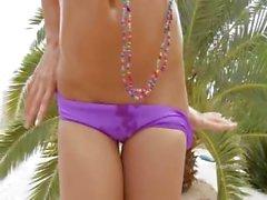Ultra busty woman having beads in snatch