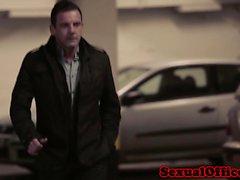 Busty seductive secretary teases boss into bang on car