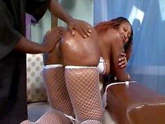 Big booty black milf seduces young black cock.