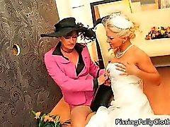 Sexy blonde bride goes crazy