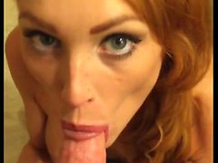 Redhead with big tit deepthoat and cum eating