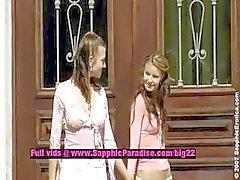 Juliette e Klara e Zoe lesbo bonecas lambendo
