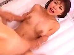 Pigtailed Asian beauty with perfect boobs and ass enjoys a