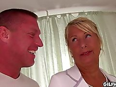 Blonde granny fucked in hotel room