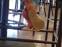 Candid Beautiful Ebony Feet in Cafeteria 3