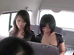Japanese fantasy babes dominating guys on bus