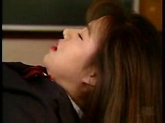 Pretty Japanese schoolgirl gets drilled with a dildo in the