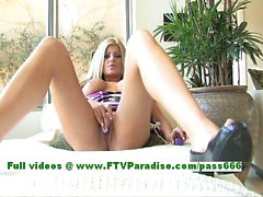 Taryn busty stunning blonde woman toying pussy on the couch