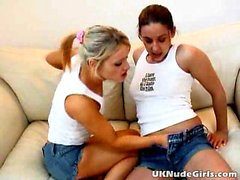 Pony-tailed horny amateur British teen lesbians Poppy and